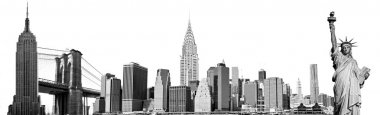 New York City Landmarks, USA. Isolated on white.