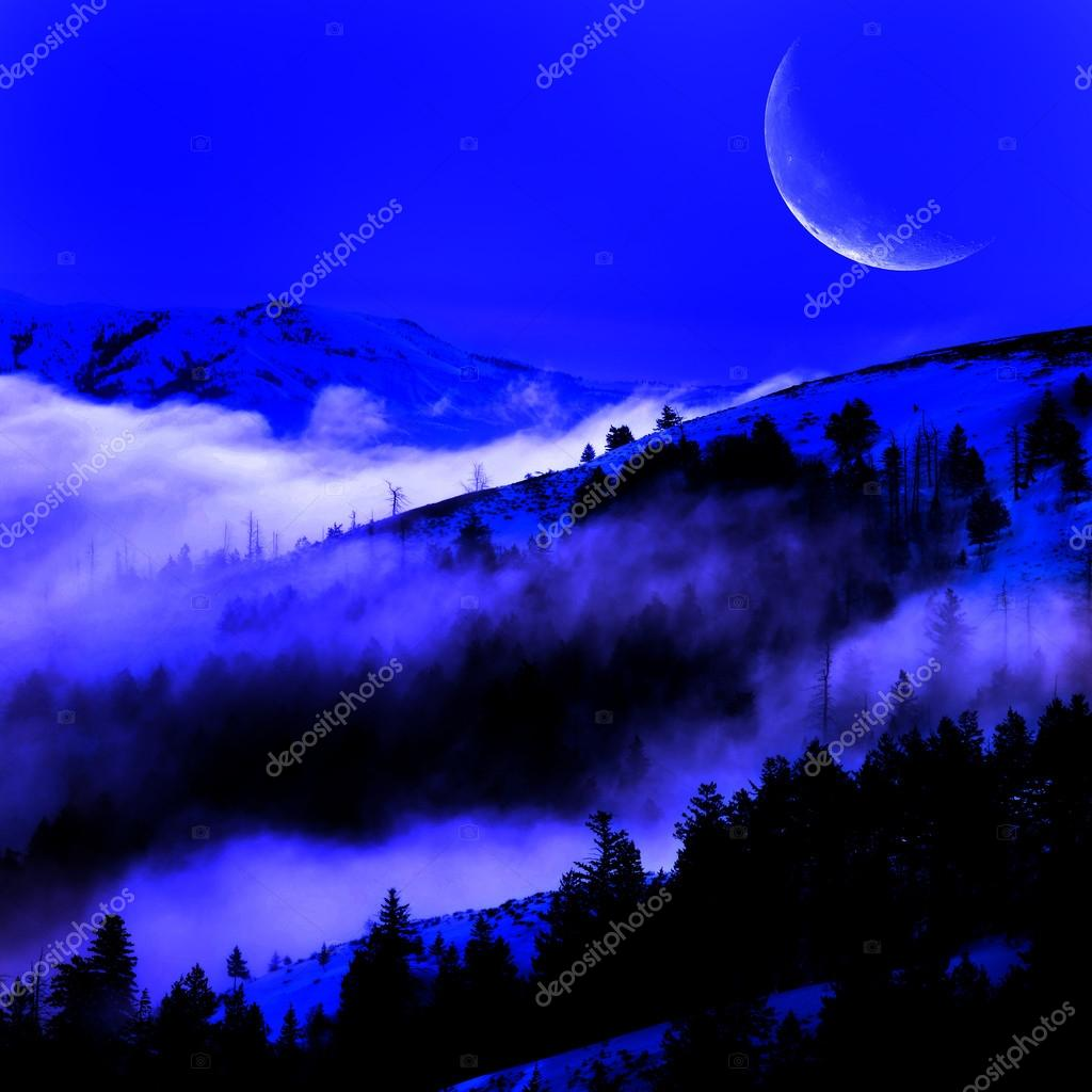 Fog in a Valley with Mountains and Moon