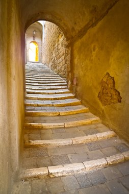 Stone steps in a remote alley in the picturesque medieval town of Sorano, Grosseto, Tuscany, Italy stock vector