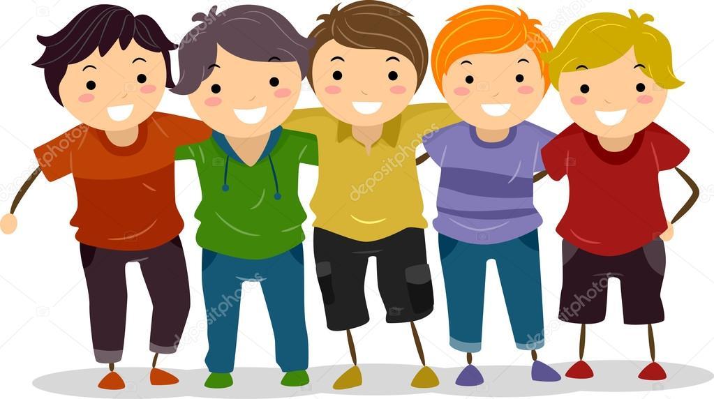 Dibujos Amigos Abrazados Grupo Niño Foto De Stock Lenmdp
