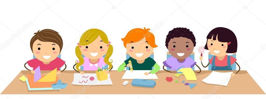 Clipart Seat Work Seatwork Kids Stock Photo C Lenmdp 19413925