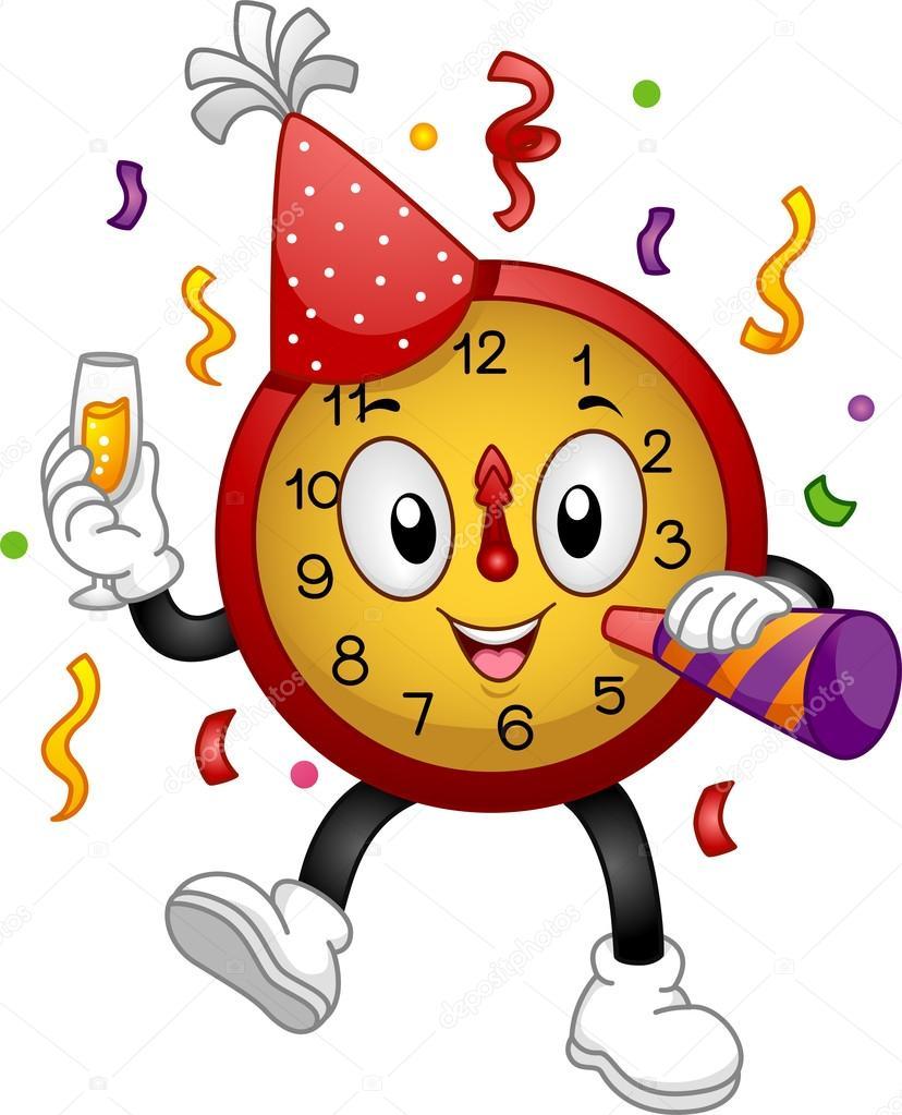 New Year Clock Mascot Stock Photo Lenmdp 19414795