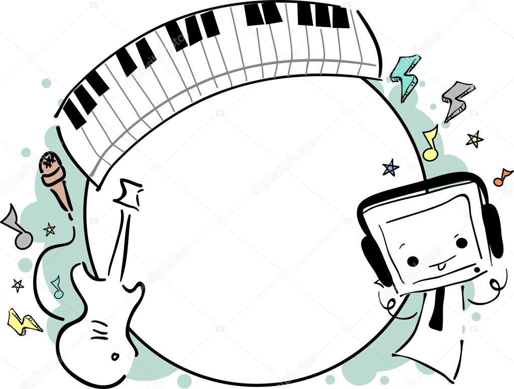Musik-Frame-doodle — Stockfoto © lenmdp #23304352