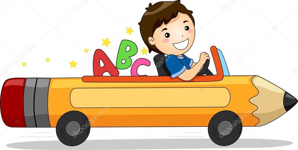gar on conduire une voiture de crayon avec abc photographie lenmdp 23304856. Black Bedroom Furniture Sets. Home Design Ideas