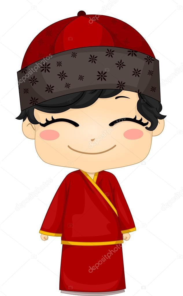 Changsam 民族衣装を着ている中国人の坊や ストック写真 Lenmdp