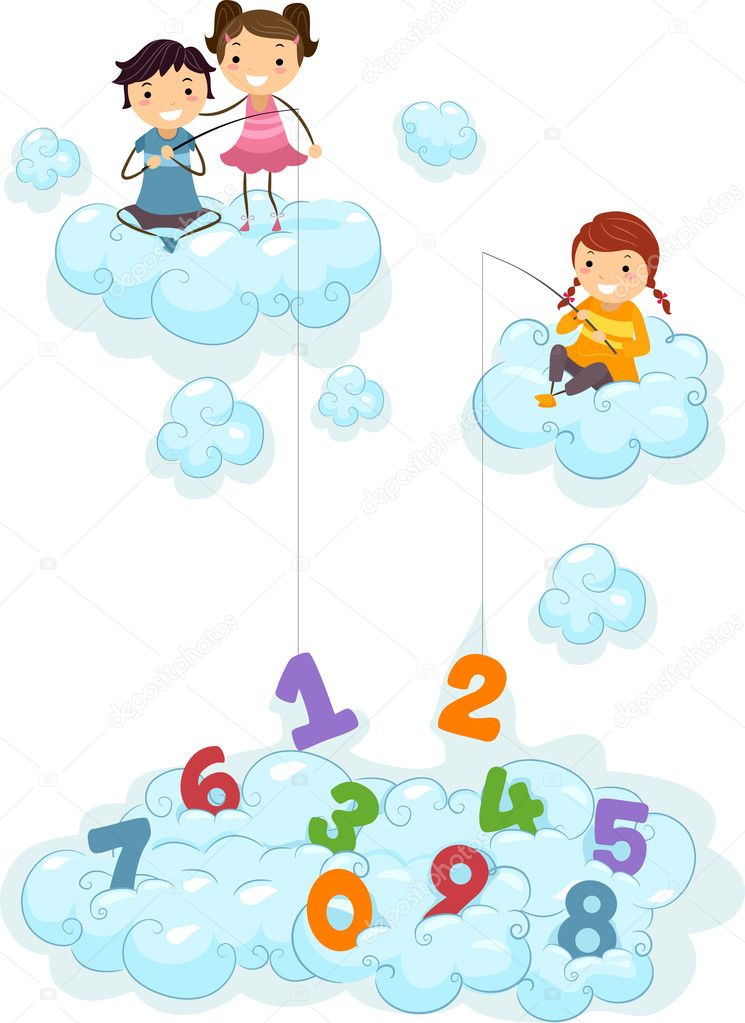 Kids on clouds fishing for numbers stock photo lenmdp for Do kids need a fishing license