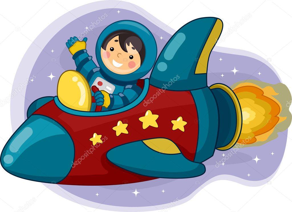 Niño Astronauta En El Espacio: Niño Astronauta Cabalgando Una Nave Espacial