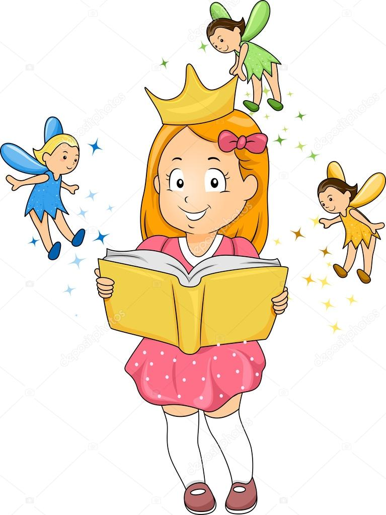 A Girl Reading A Book About Fairies