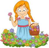 Little Kid Girl Picking Flowers in Garden