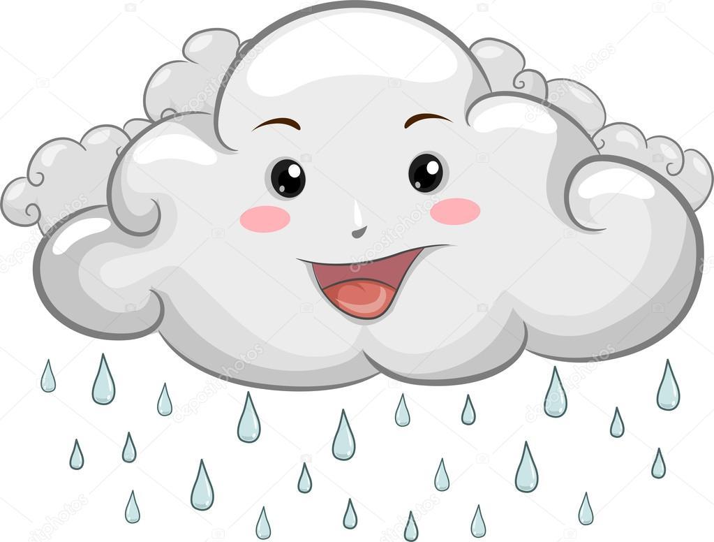 mascota de nube feliz con las gotas de lluvia — Foto de stock ...