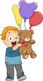 Ilustrace dítě chlapce s balónky a věci hračky