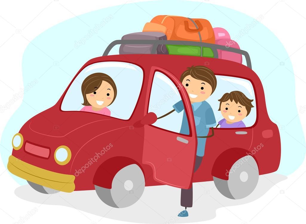 Vector Feliz Viaje Familia: Imágenes: Una Familia Viajando En Carro