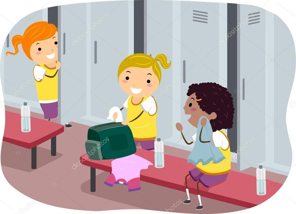 Umkleideraum Schule Mädchen Jungs und