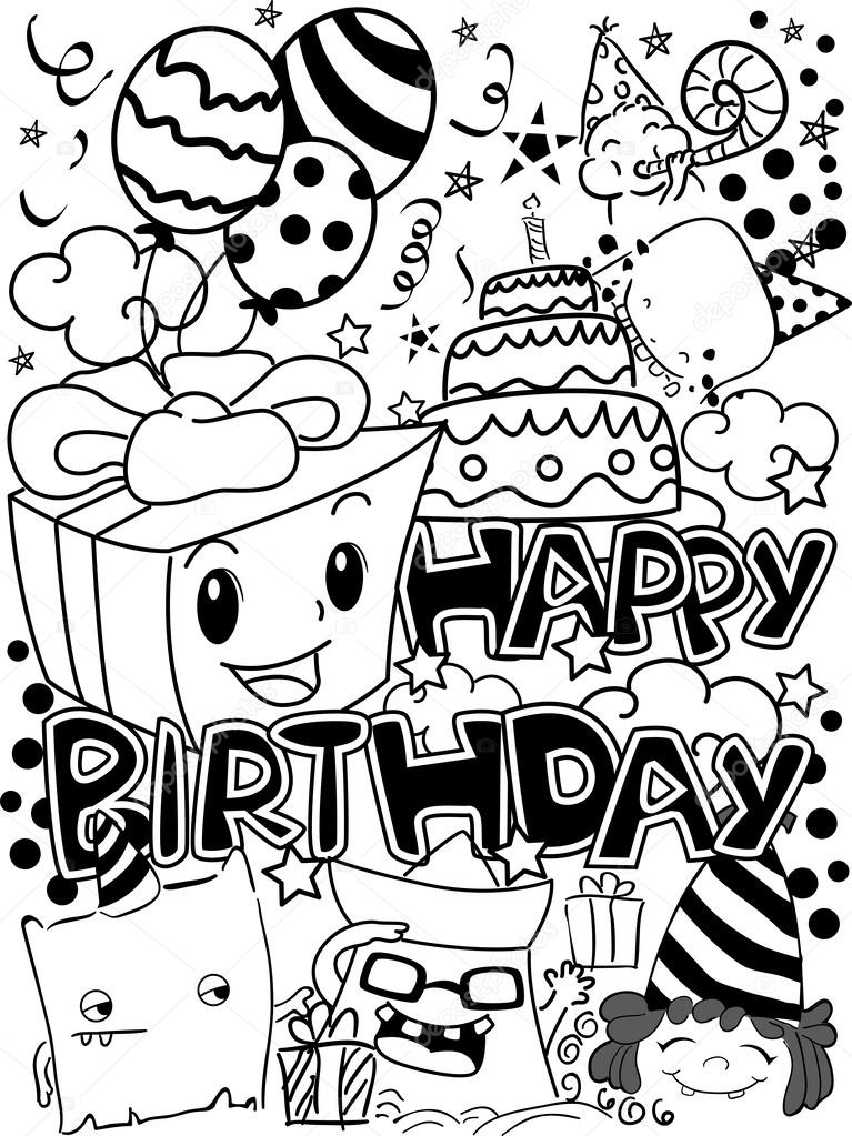 Cictures Happy Birthday Clip Art Black And White Black And White Happy Birthday Party Doodles Stock Photo C Lenmdp 39466951