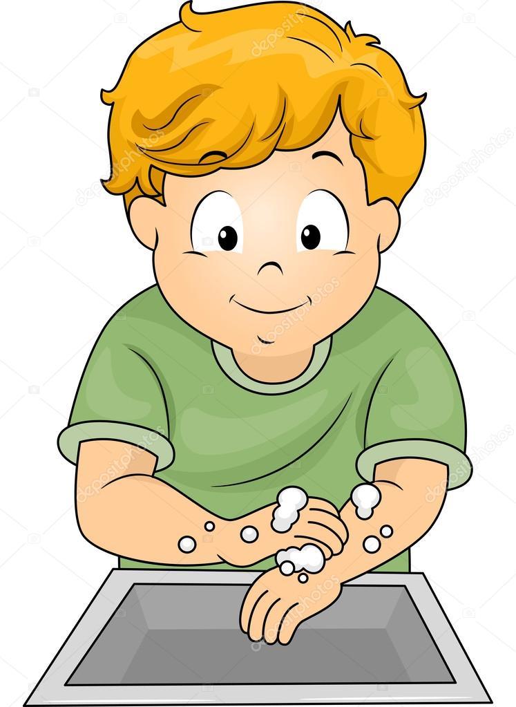 gar on se laver les mains photographie lenmdp 46208049. Black Bedroom Furniture Sets. Home Design Ideas