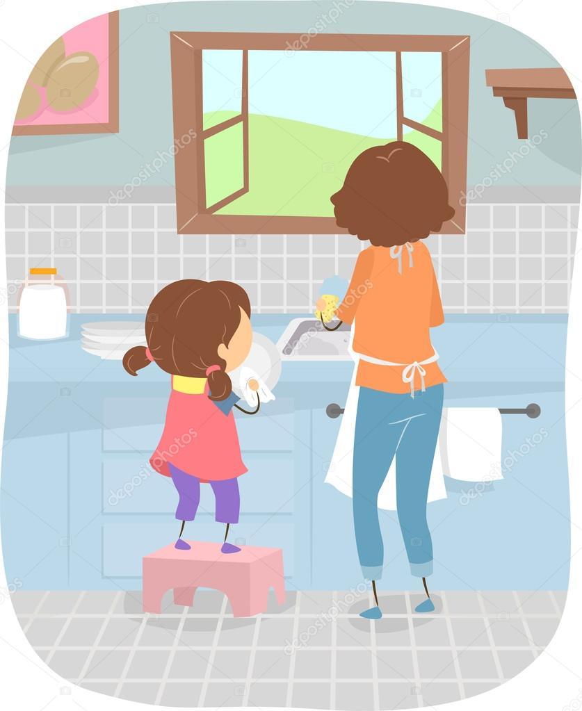 Мама Соблазняет Сыночка, Моющего Посуду