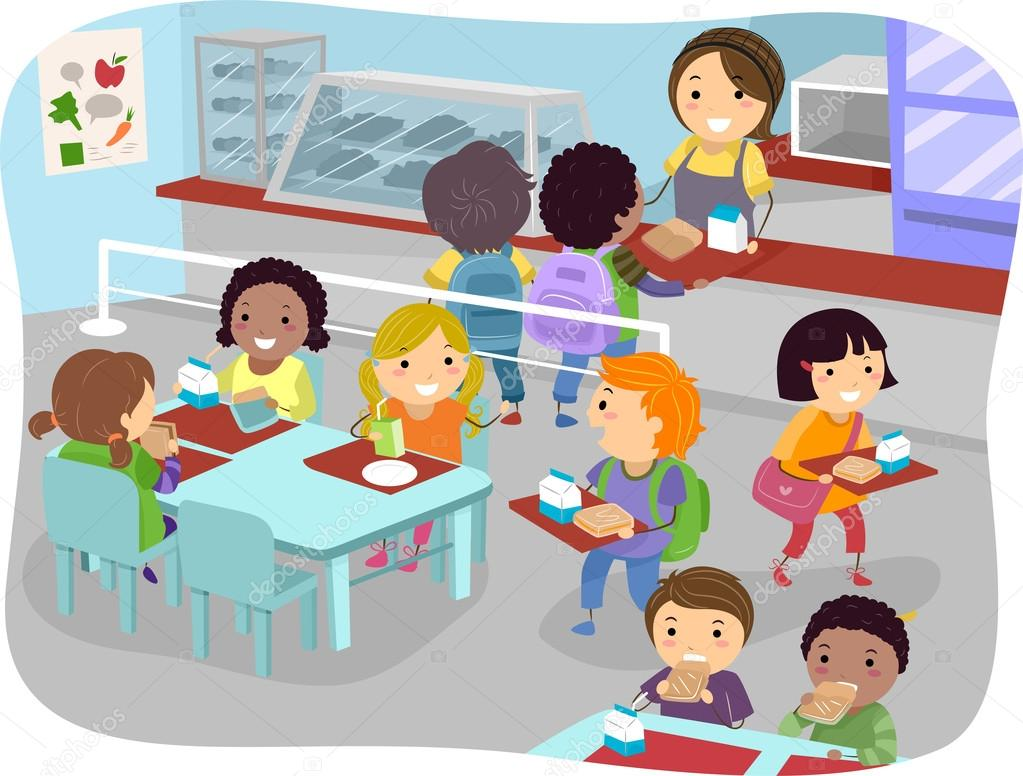 Animado: cantina dibujo | niños de la cantina — Foto de ...