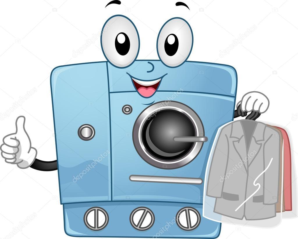 Tumble Dryer Cartoon ~ Dry clean machine mascot — stock photo lenmdp