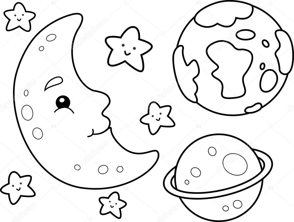 Outer Space Coloring Page Stock Photo lenmdp 48930131