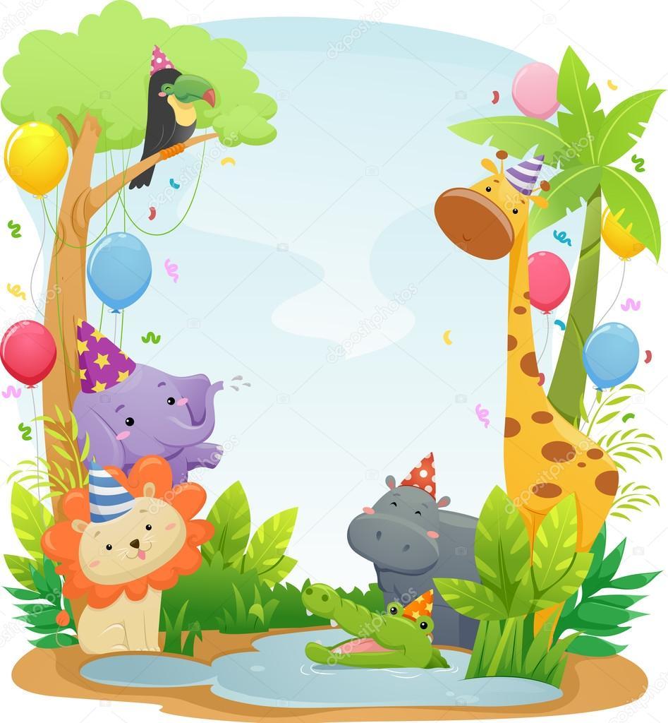 Safari Animal Birthday Background — Stock Photo © lenmdp ...