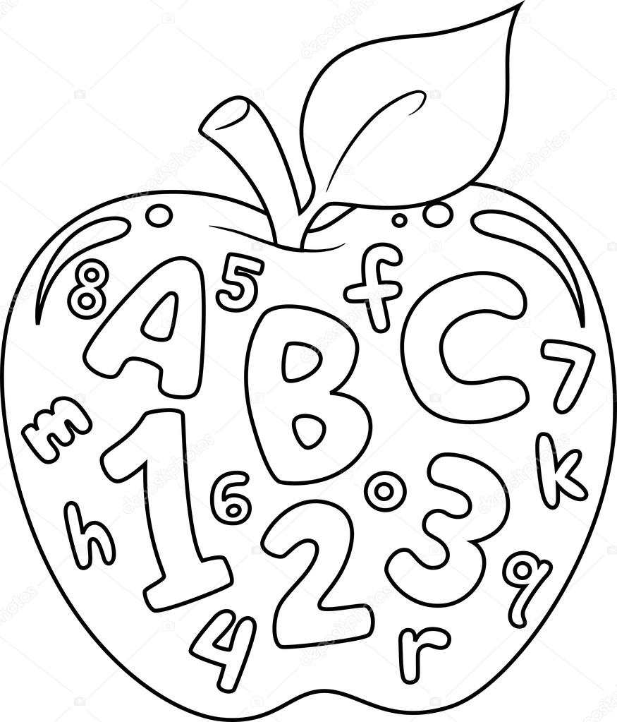 Coloring Book Illustration Featuring An Apple With Numbers And Letters Printed On It Photo By Lenmdp