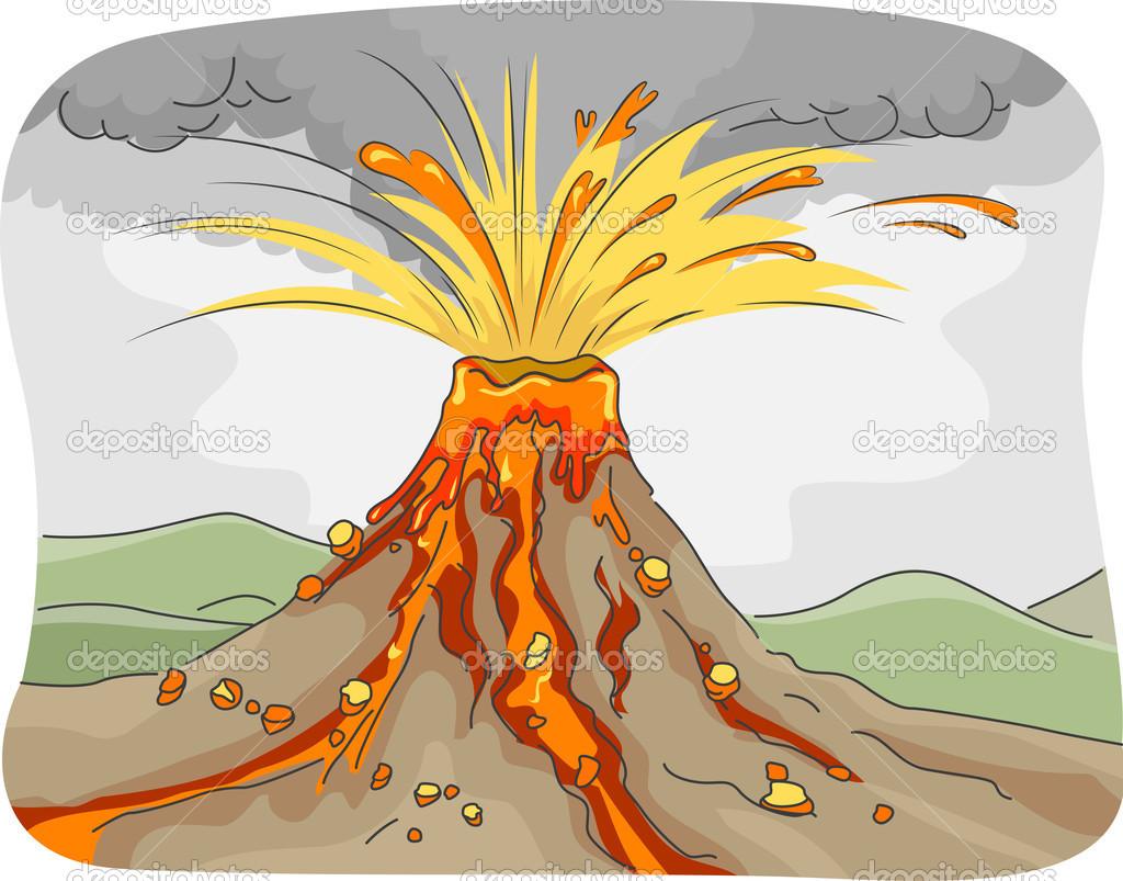 Animado Dibujo De Un Volcán En Erupción Erupción Volcánica Foto