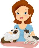 Pretty Woman Petting Cats