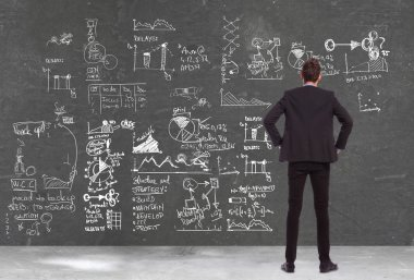 Back view of a business man looking at some charts , graphs and calculations on a blackboard stock vector