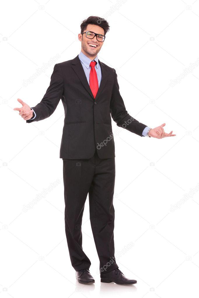 business man wellcomes everybody