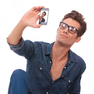 man takes picture of himself