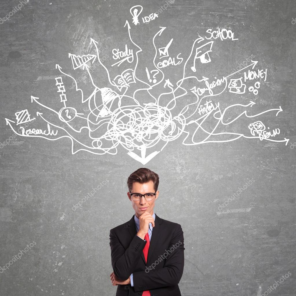 Man Thinking At Too Many Things Stock Photo 169 Feedough