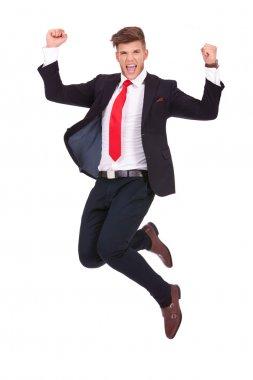 business man jumping ecstatic