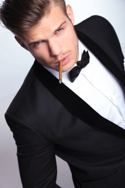 business man with cigar in mouth