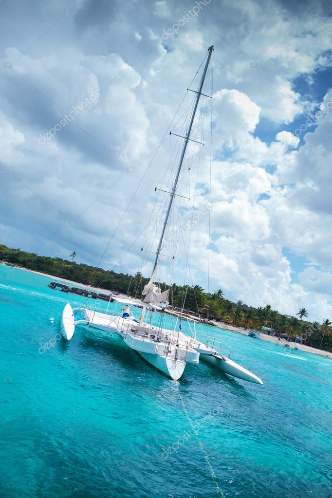 Catamaran in a bay near saona island