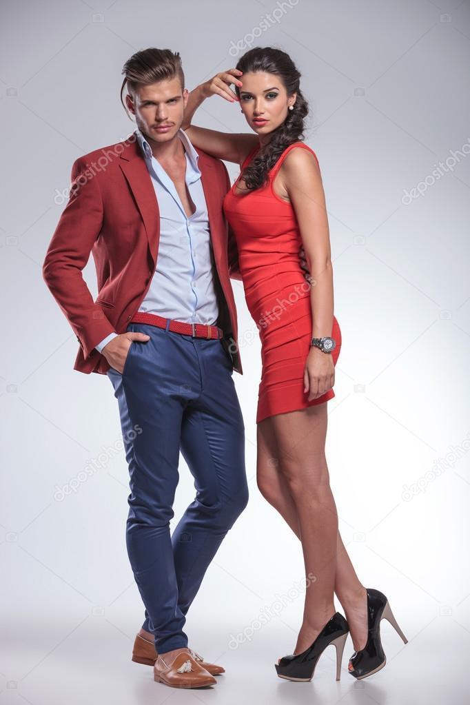 Bien-aimé serious fashion couple posing in studio — Stock Photo © feedough  IY05