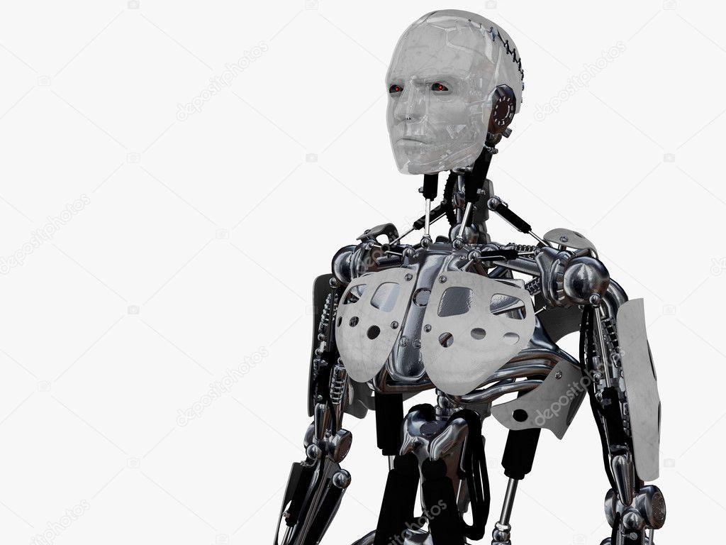 Male cyborg gazing into the future.