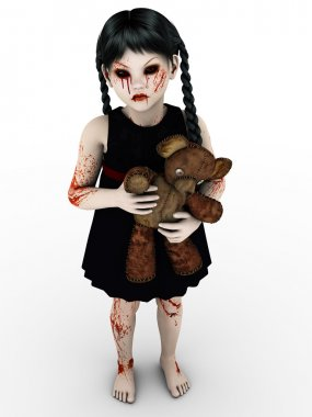 A gothic blod covered small girl.