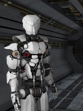 Futuristic robot in sci fi corridor.
