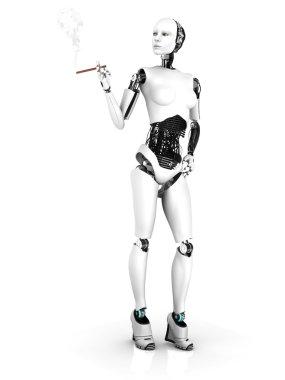 Sexy robot woman smoking a cigar nr 1.