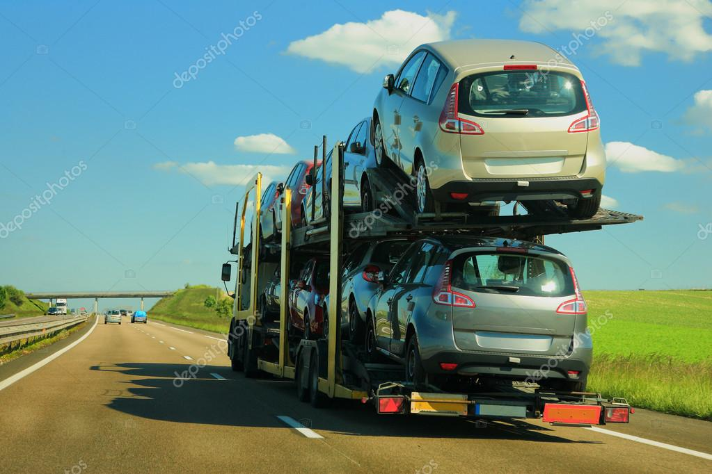 Semi-truck with cars