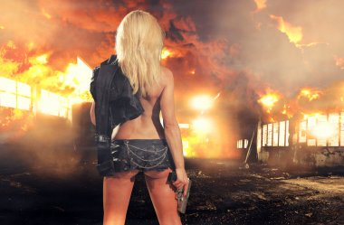 Special tactics sexy woman holding up her weapon with explosion behind her stock vector