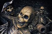 Fotografie tři kostry piráti portrét