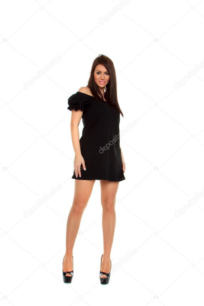 d5b1f234fdaf sexy ragazza in posa in un bel vestito nero — Foto Stock © netfalls ...