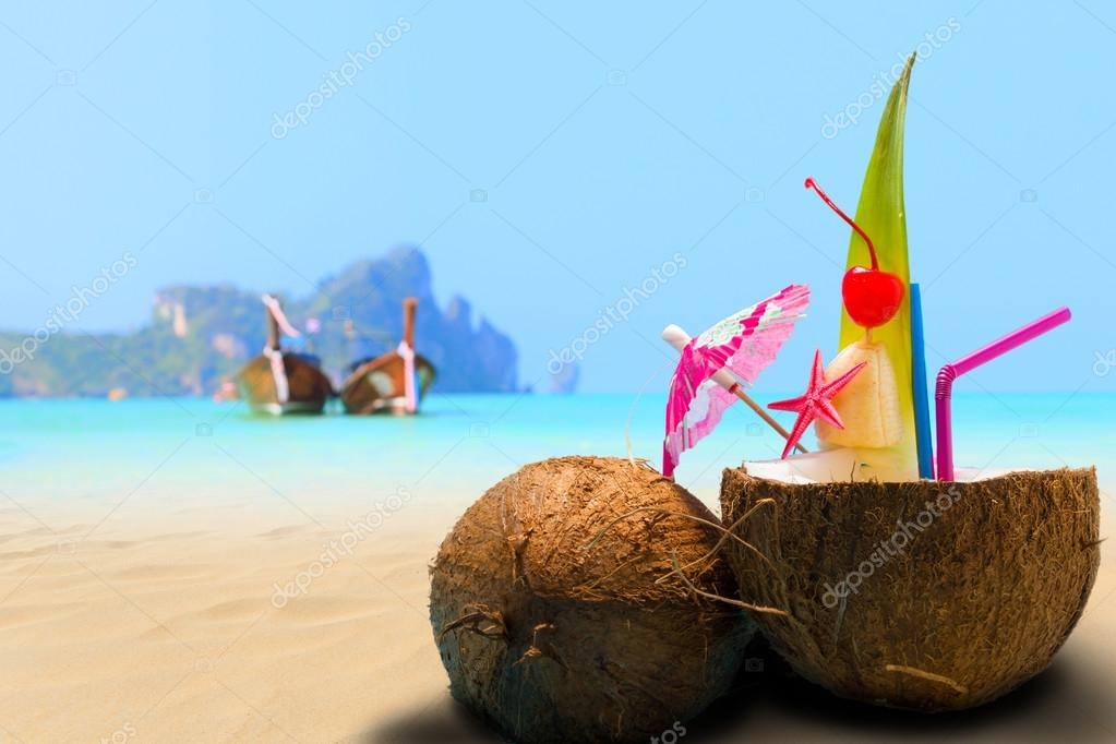 Coconut on the beach in Phi Phi island