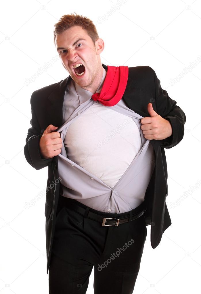 22989e7231ff Νέος θυμωμένος επιχειρηματίας σχίσιμο του πουκάμισο στην απογοήτευση που  απομονώνονται σε λευκό — Εικόνα από joruba75