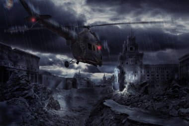 Helicopter over ruined city during storm