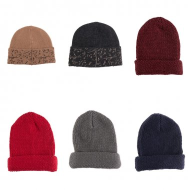 Set of knitted wool hats