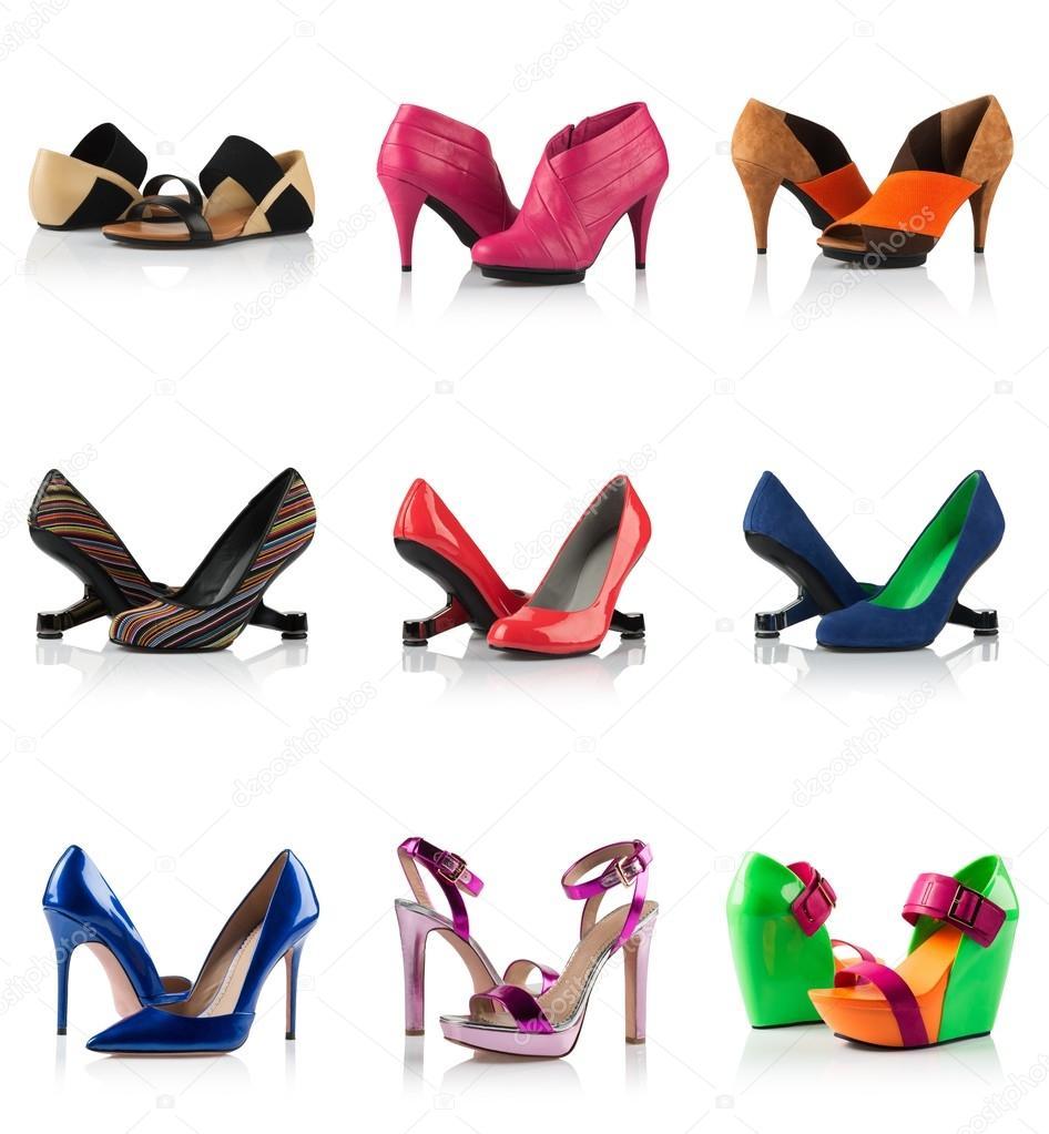 1f4fa36d69e775 Колекція - різні види жіноче взуття — Стокове фото — колір ...