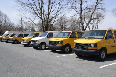 row of school vans