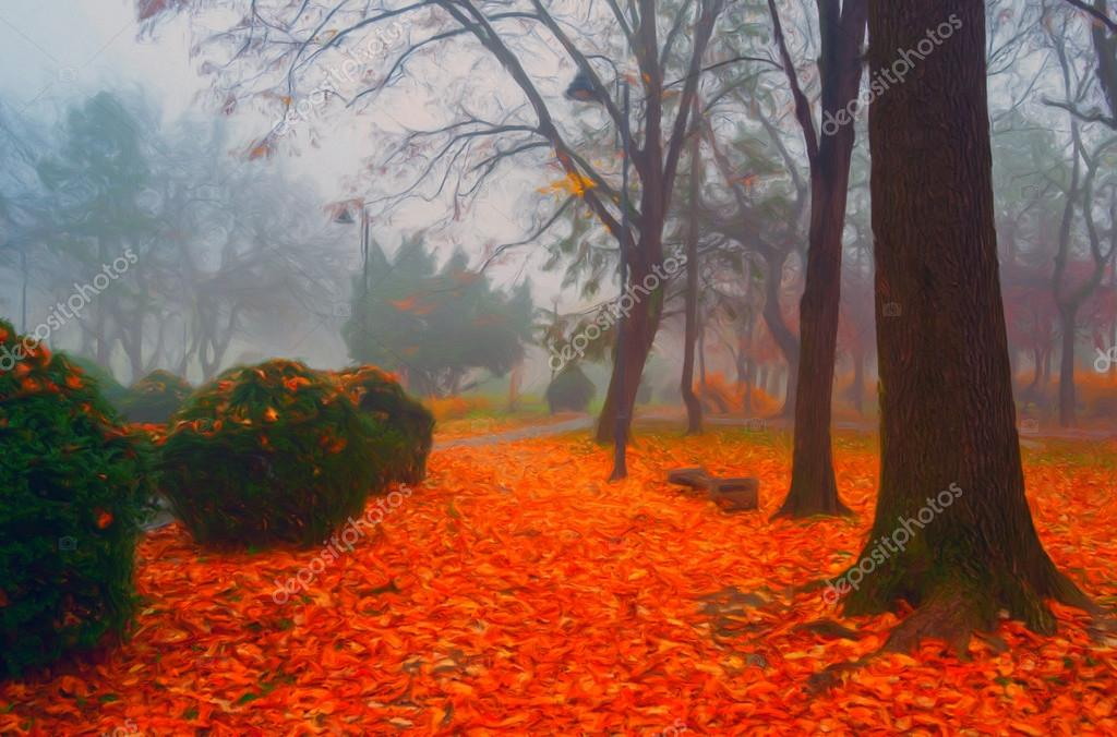 Landscape painting showing beautiful park in autumn